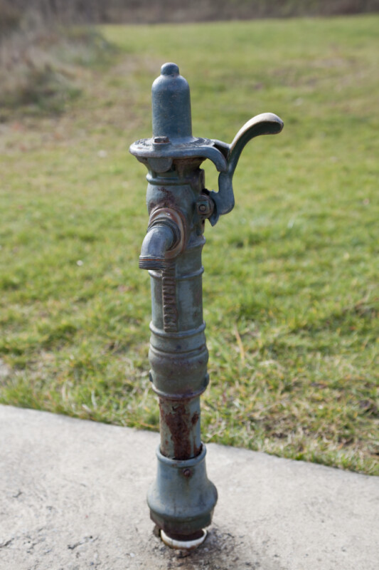 Old, Light-Blue Water Pump at Boyce Park