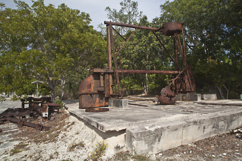 Old, Rusted Machine on a Keystone Slab at Windley Key Fossil Reef Geological State Park