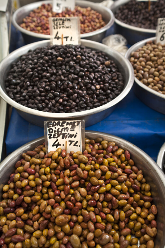 Olives in Metal Bowls at an Outdoor Market in Kusadasi