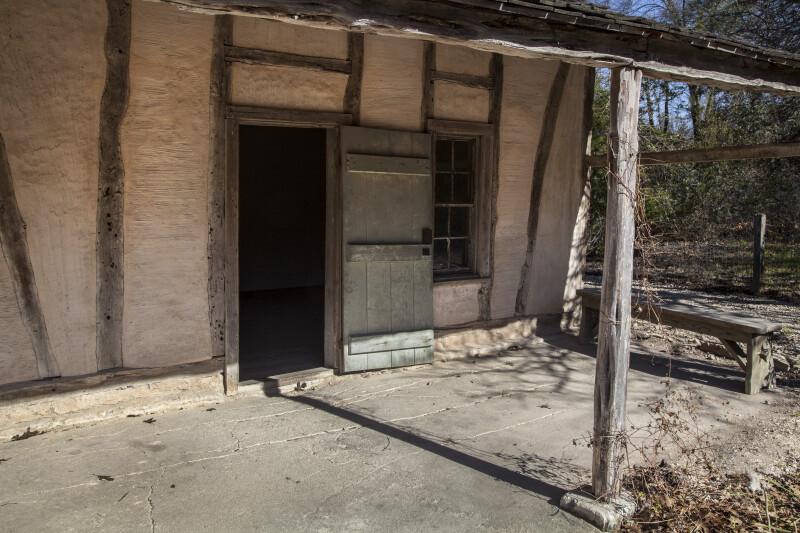 Open Door of Schumacher House at the San Antonio Botanical Garden