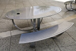 Oval Metal Table with Curved Benches