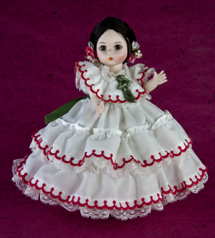Panama Doll of Girl Dressed in a Pollera for El Tamborito (Full View)