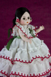 Panama Young Girl in Pollero with White Ruffles and Tiered Skirt (Three Quarter View)