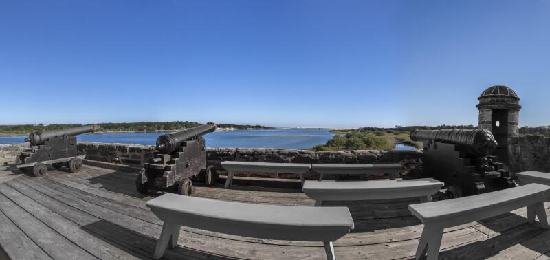 Panoramic View of Matanzas Inlet from Battlements with Cannons