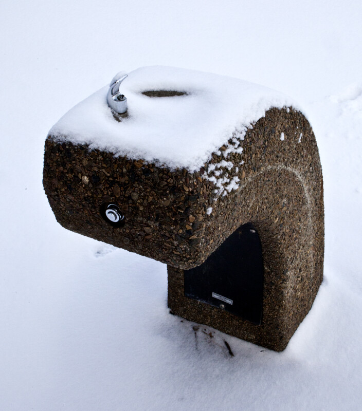 Park Drinking Fountain in the Snow