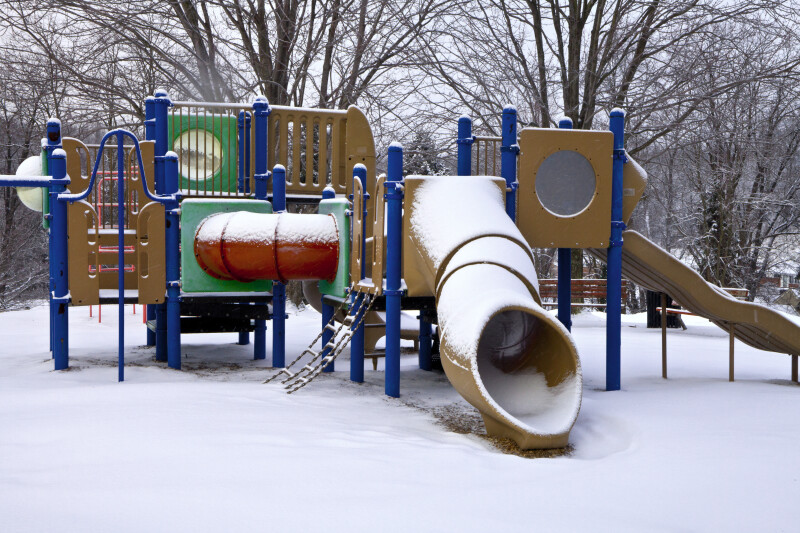 Park Playground after a Snowfall