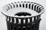 Park Trash Can in the Snow