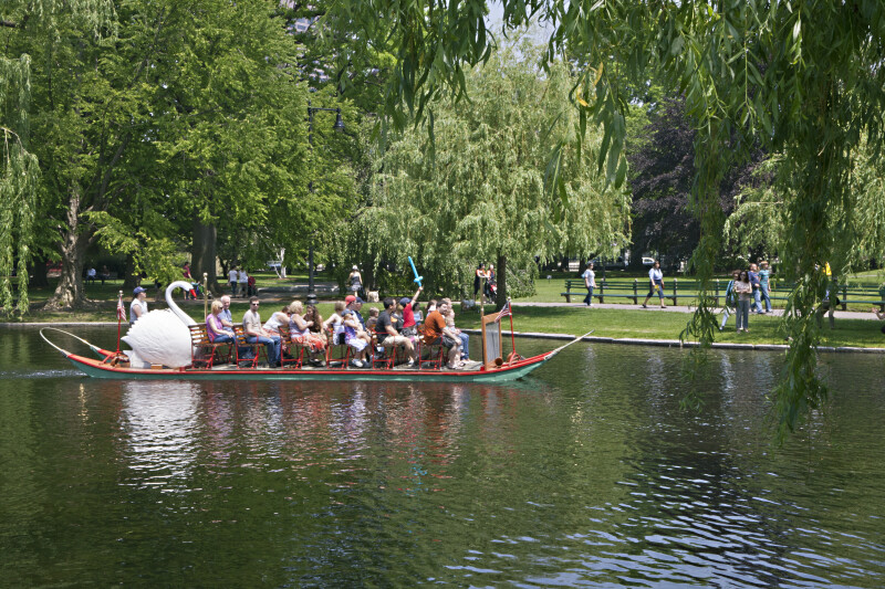 Passengers in a Swan Boat at the Boston Public Garden