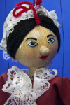 Pennsylvania Betsy Ross Doll/Marionette Holding American Colonial Flag (Close Up)
