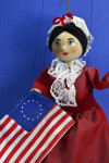 Pennsylvania Betsy Ross Doll/Marionette Holding American Colonial Flag (Three Quarter Length)