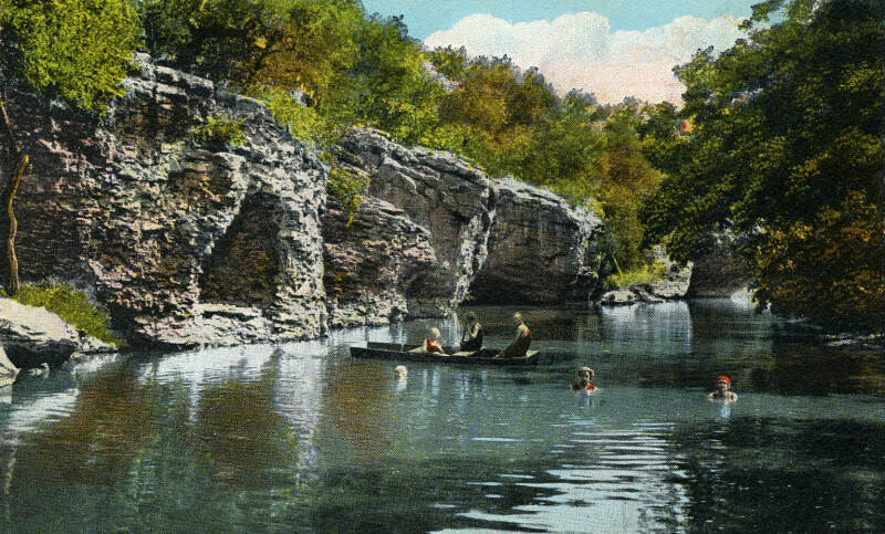People Bathing and Boating at the Grottoes on Lovers' Retreat in Mineral Wells, Texas