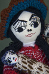 Peru Hand Made Lady doll with Embroidered Face and Crocheted Hat (Close Up)