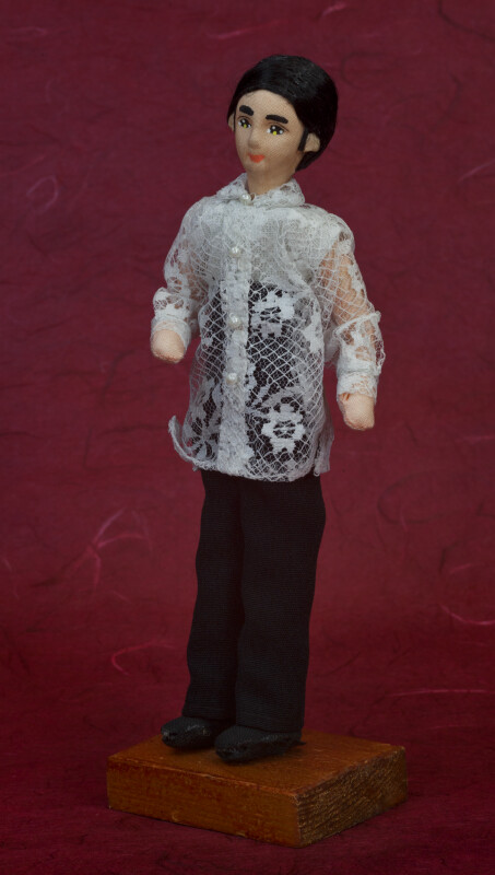Philippines Fabric Man with Painted Face and Barong Tagalog Shirt (Three Quarter View)