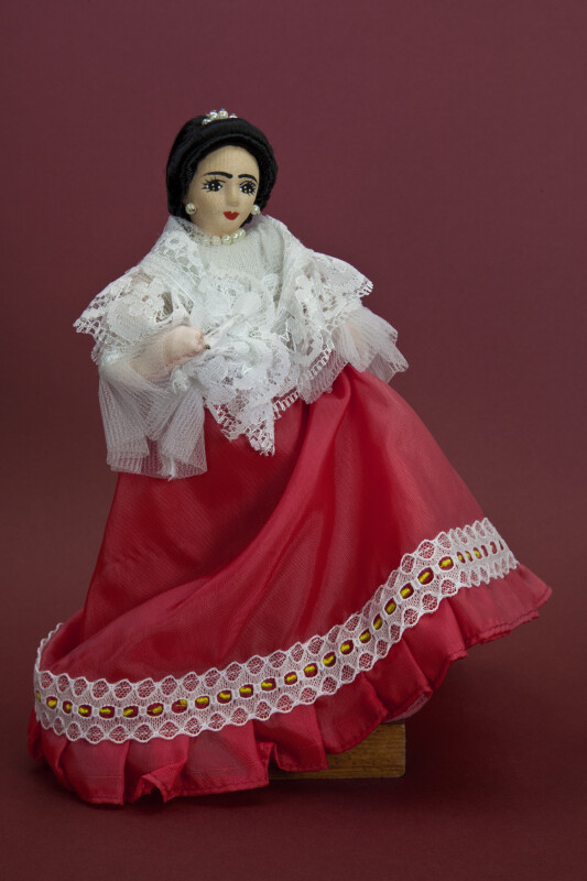 Philippines Hand Made Cloth Female Doll With Painted Features (Full View)