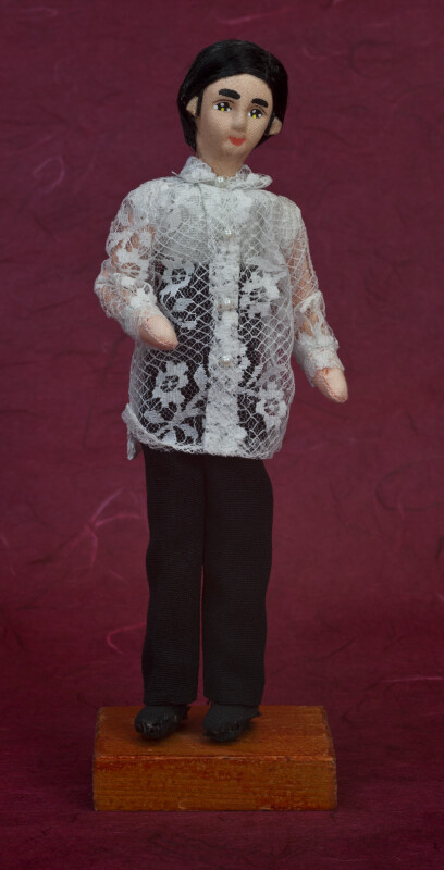 Philippines Male Doll Wearing Traditional Barong Tagalog (Full View)