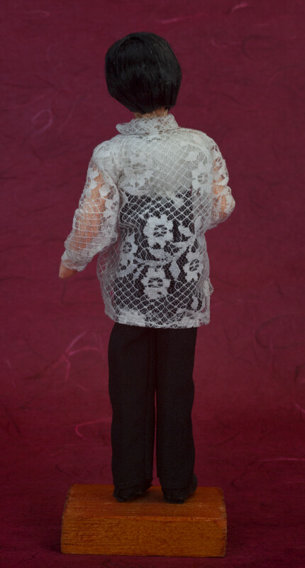Philippines Male Figure with Black Hair and Barong Tagalog Shirt (Back View)