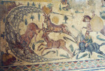 Piazza Armerina, Mosaic of the Little Hunt, Stags Captured in a Net