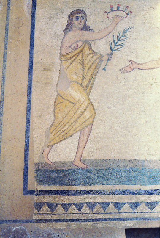Piazza Armerina, Mosaic, Performance or Athletic Competition, Woman with Crown and Palm