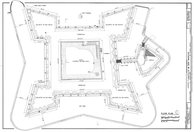 Plan Drawing of Castillo de San Marcos Upper Deck, 1987