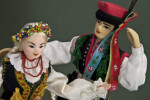 Poland Folk Dancers with Hand Painted Faces from Krakow (Close Up)