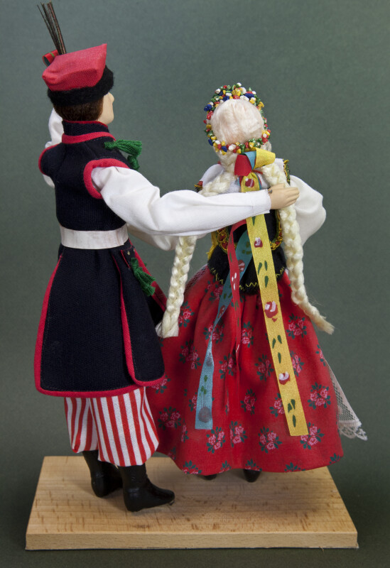 Poland Handcrafted Ethnic Folk Dancers Made with Ceramic and Fabric (Back View)