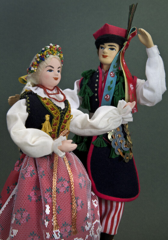 Poland Handmade Couple Dressed for Polish Festive Folk Dance (Three Quarter View)