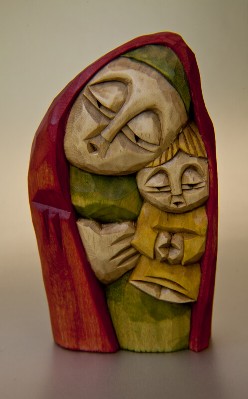 Poland Mother and Child Hand Carved and Hand Painted (Full View)
