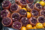 Pomegranates and Oranges Displayed at a Market in Istanbul, Turkey