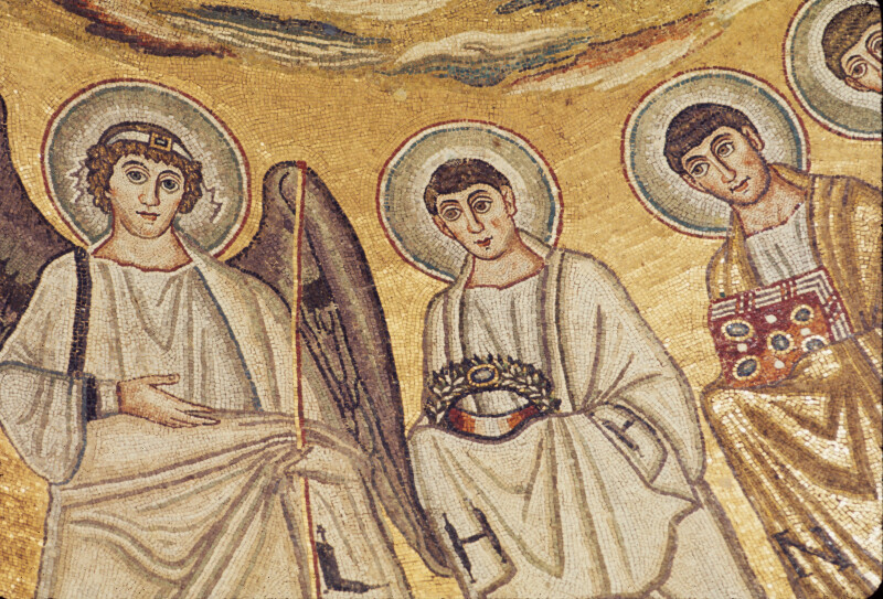 Poreč, Cathedral of Eufrasius, apse mosaic, right side, angel and two anonymous saints