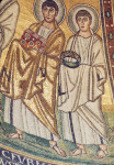 Poreč, Cathedral of Eufrasius, apse mosaic, right side, two anonymous saints