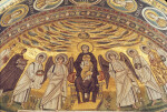 Poreč, Cathedral of Eufrasius, apse mosaic, Virgin and Child, angels, saints and patrons