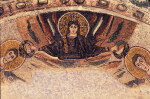 Poreč, Cathedral of Eufrasius, mosaic, north apse, Christ crowns Sts. Cosmas and Damian