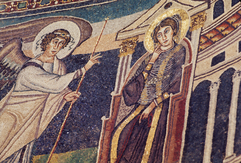 Poreč, Cathedral of Eufrasius, mosaic, north side of apse, Annunciation