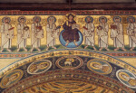 Poreč, Cathedral of Eufrasius, mosaic, triumphal arch, center, Christ and apostles above, medallions of virgin saints on intrados