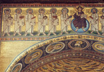 Poreč, Cathedral of Eufrasius, mosaic, triumphal arch, Christ and apostles above, medallions of virgin saints on intrados, left side