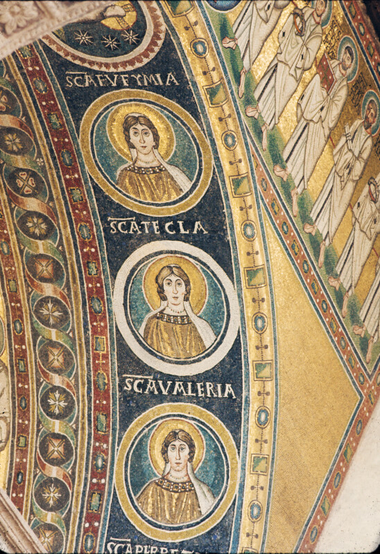 Poreč, Cathedral of Eufrasius, mosaic, triumphal arch, medallions of Sts. Euphemia, Thecla and Valeria on intrados, right side