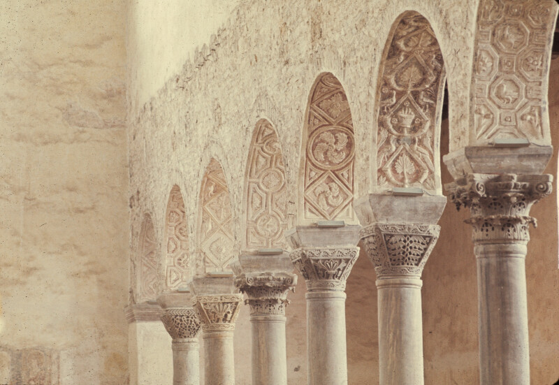 Poreč, Cathedral of Eufrasius, nave, north arcade, marble capitals and stucco decoration
