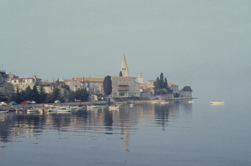 Poreč, view of the promontory with towers of the Eufrasian complex and Sv. Franjo, the Franciscan church