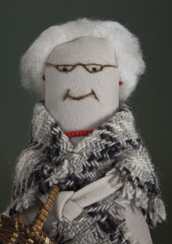 Prince Edward Island Lady with Wool Hair, Wool Shawl, and Beaded Necklace (Close Up)