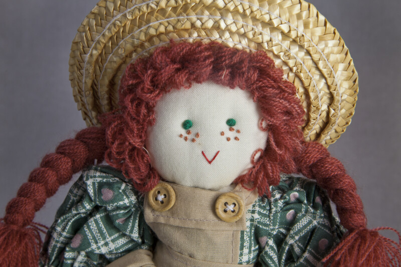 Prince Edward Island Storybook Heroine Anne of Green Gables with Embroidered Facial Features (Close Up)