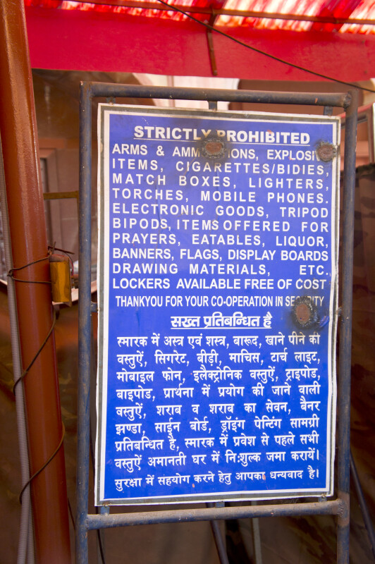 Prohibited Items Sign