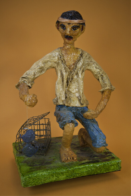 Puerto Rican Crab Fisherman Made with Paper Mache' (Full View)