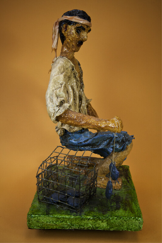 Puerto Rican Paper Mache' Man with Land Crabs (Right Side View)