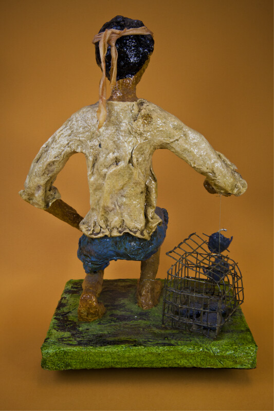 Puerto Rico Figure of Land Crab Fisherman from Paper Mache' (Back View)