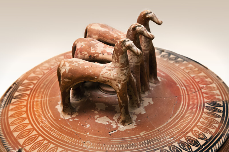 Pyxis with Three Horses on Lid Viewed from the Side