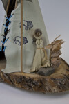 Quebec Canada Small Indian Outside Tipi Made of Animal Skin and Wood (Close Up)