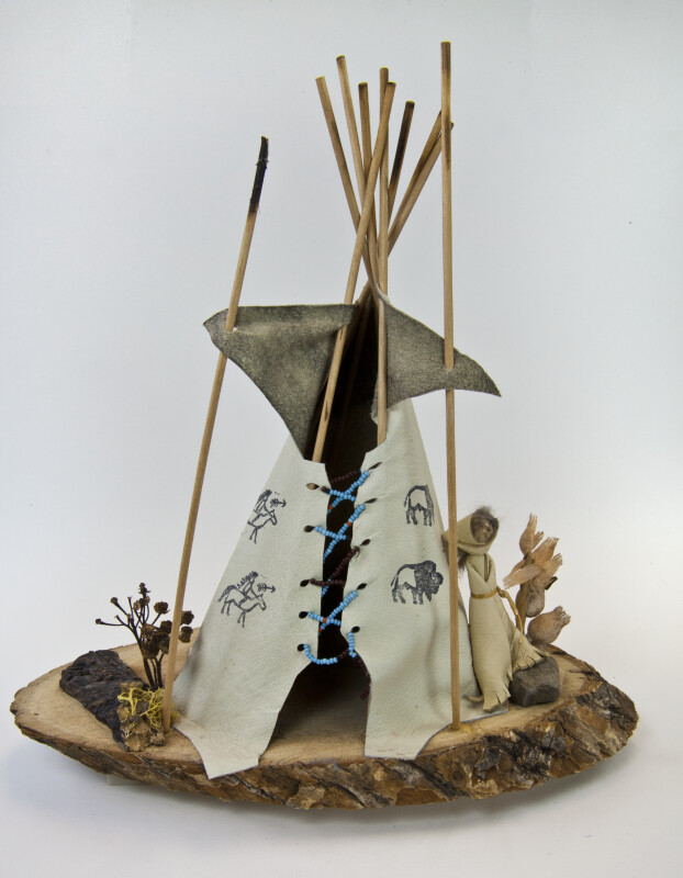 Quebec Canada Tipi Made of Leather with Wood Poles (Full View)