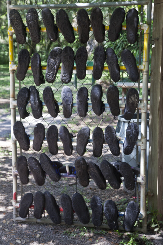 Rack of Rubber Shoes for River Wading
