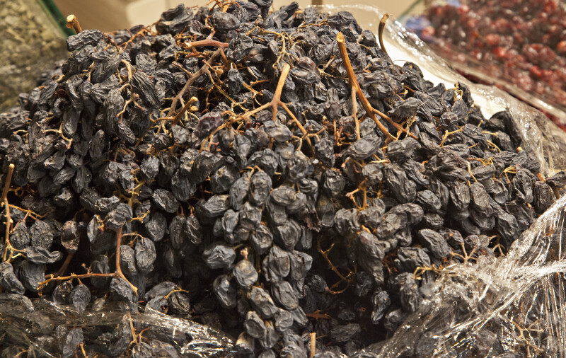 Raisins Attached to Stems at the Spice Bazaar in Istanbul, Turkey