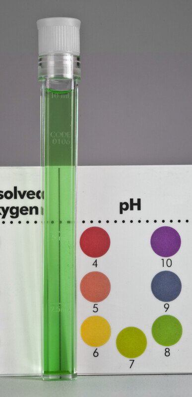 Reading a pH value of 8